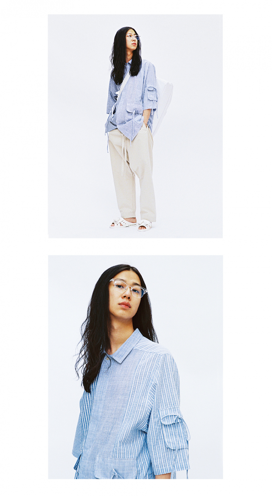 아조바이아조(AJOBYAJO) Tri Pockets Stripe Mixed Shirt [Blue]