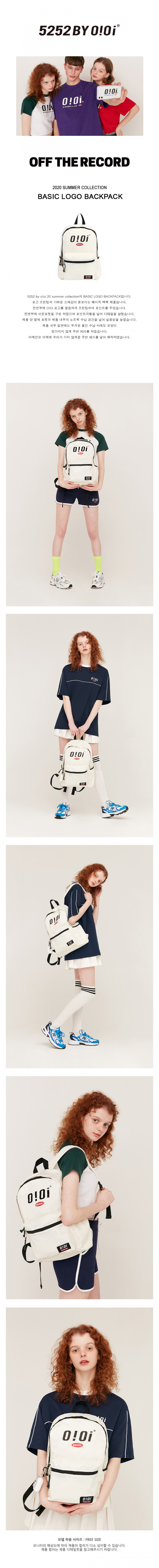 5252 바이 오아이오아이(5252BYOIOI) BASIC LOGO BACKPACK_ivory