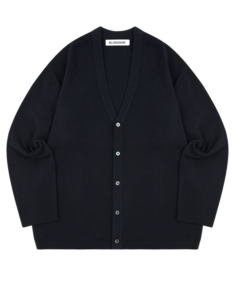 블론드나인(BLOND9) SEMI OVER-FIT V NECK CADIGAN_NAVY