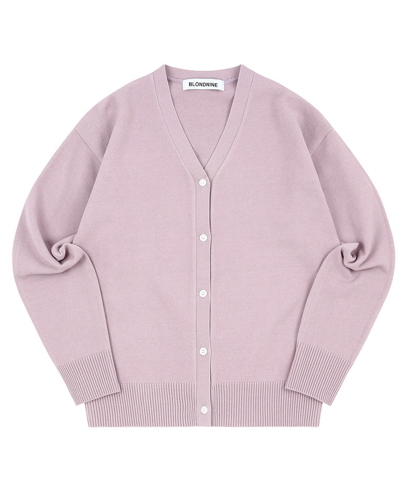 블론드나인(BLOND9) LOUIE BASIC V NECK CARDIGAN_PURPLE