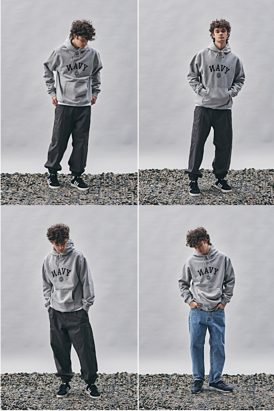 에스피오나지(ESPIONAGE) NAVAL Academy Heavy Weight Hoodie Grey