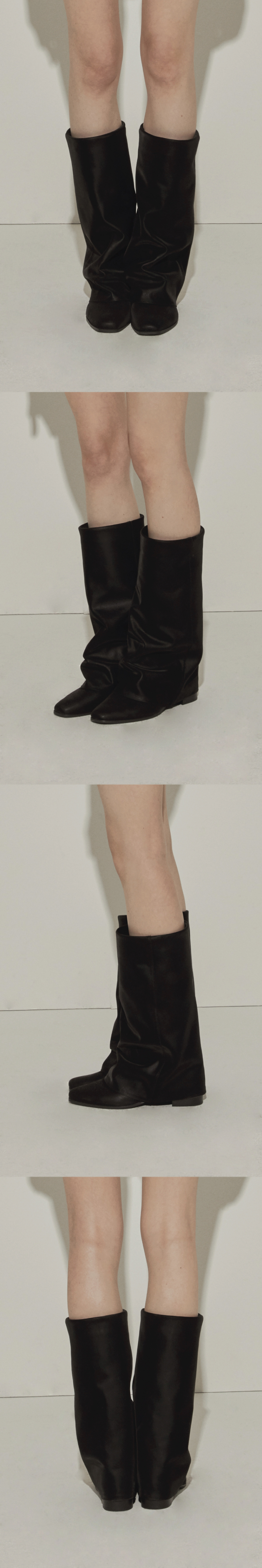 쓰리투에이티(THREE TO EIGHTY) Wrinkle Leather Boots (Black)