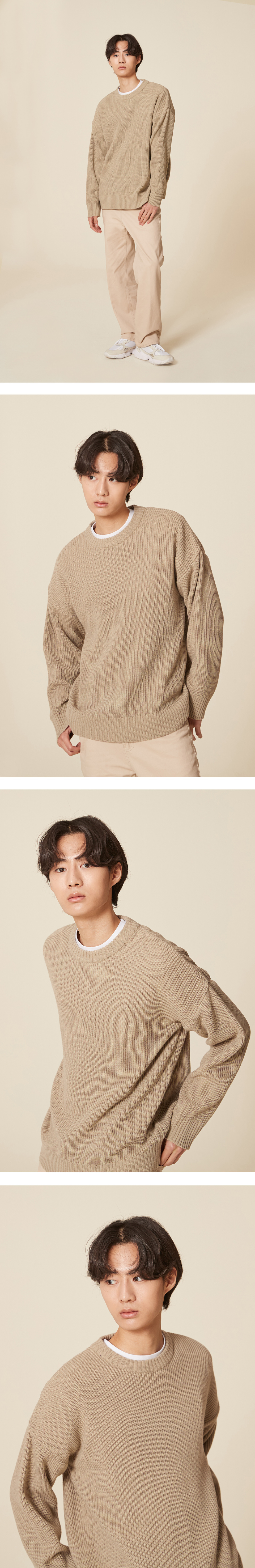 블론드나인(BLOND9) CREW NECK RIB KNIT SWEATER_IVORY