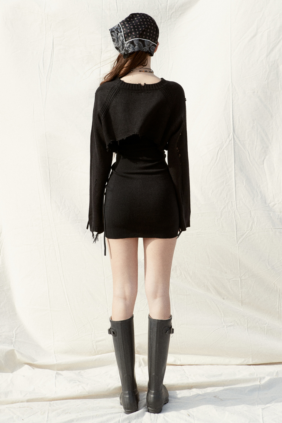 페인오어플레져(PAINORPLEASURE) BANSHEE KNIT DRESS SET_black