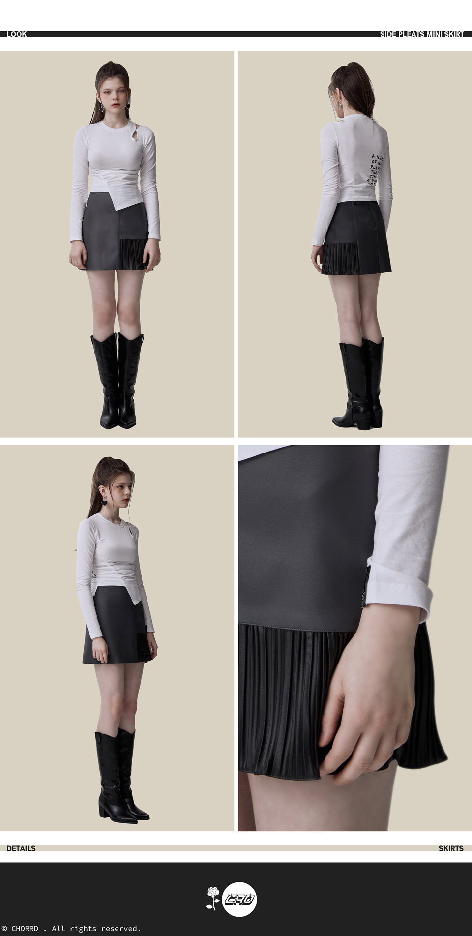 코드(CHORRD) Side Pleats Mini Skirt Grey