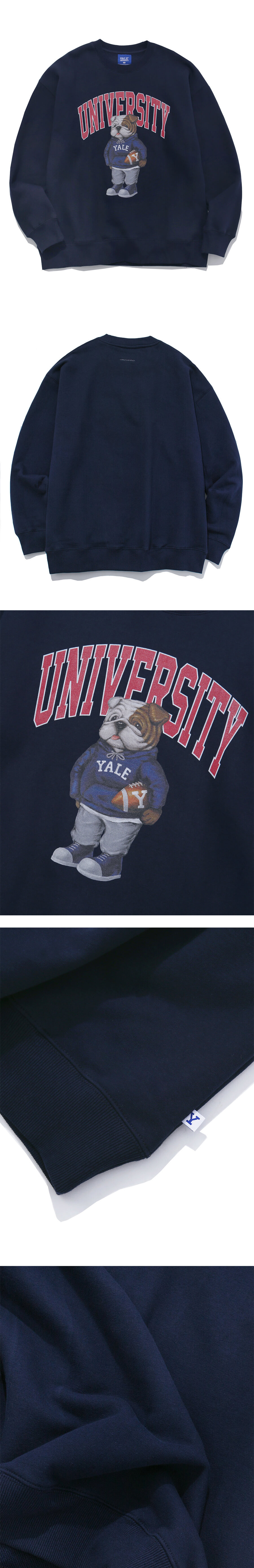 예일(YALE) (BY P.E.DEPT) UNIVERSITY HANDSOME DAN CREWNECK NAVY