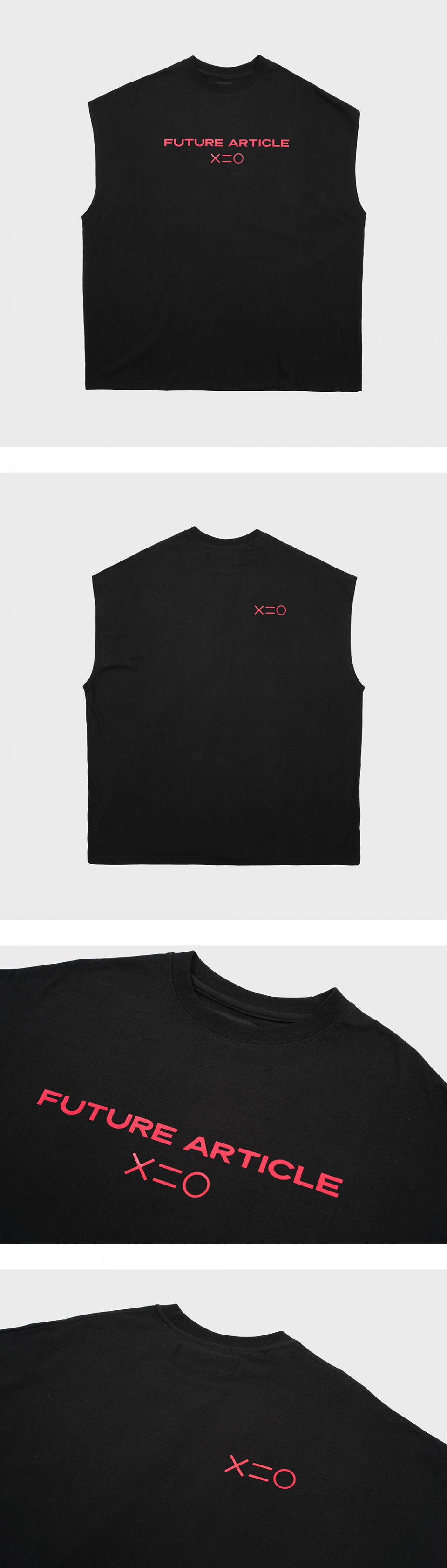 도조(DOZOH) RED F MUSCLE SLEEVELESS T-SHIRTS IN BLACK