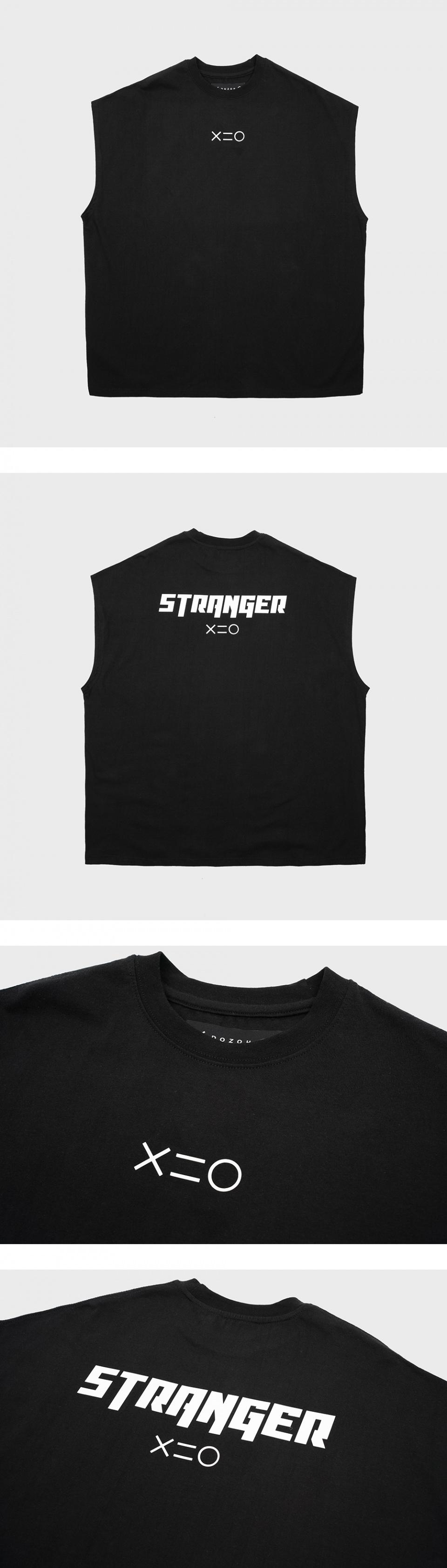 도조(DOZOH) WHITE STRANGER MUSCLE SLEEVELESS T-SHIRTS IN BLACK