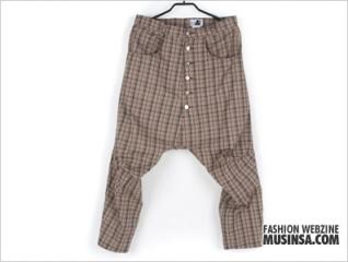 skulllism check solid baggy pants