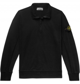 스톤아일랜드 / Logo-Appliquéd Loopback Stretch-Cotton Jersey Half-Zip Sweatshirt / 미포